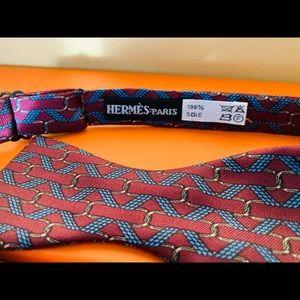 HERMES Vintage Bow Tie (Bowtie) - Wine/Blue - 100%